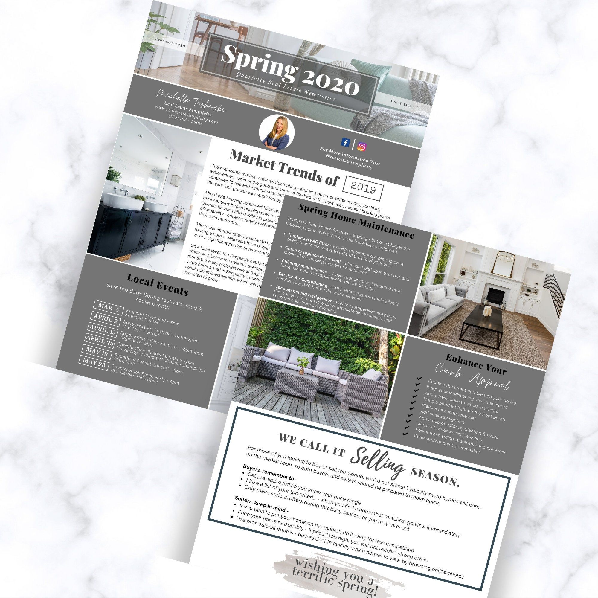 Real Estate Newsletter Template, Spring 2020 newsletter, Real estate marketing, Realtor newsletter, Realtor flyer, Customize, Canva editable