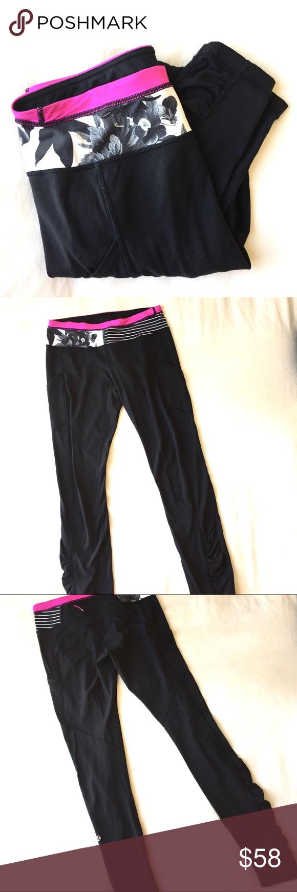 0f73856d6ec35 Lululemon Black Wunder Under Leggings Lululemon   women's leggings   black  with white, pink and black waist band design   wunder under   full length  ...