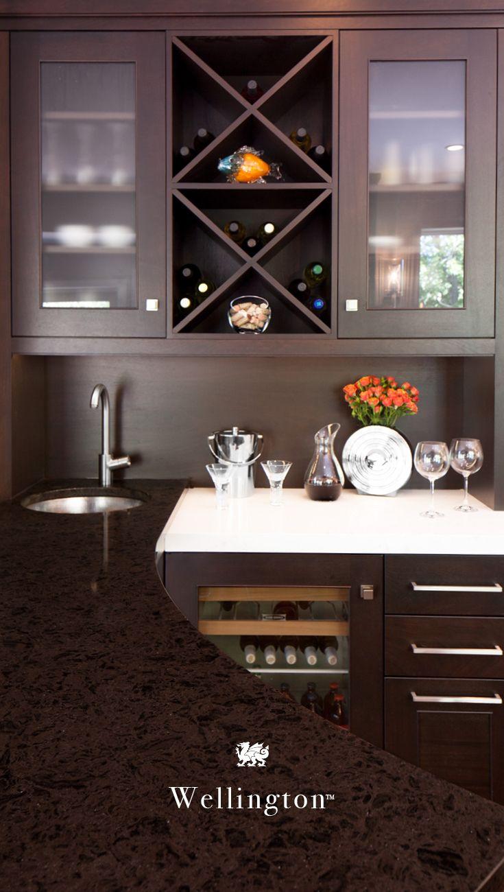 A Dark Dramatic Quartz Countertop Cambria Wellington Adds Depth To Any Room Home Bar K White Bathroom Cabinets Countertops White Cabinets White Countertops