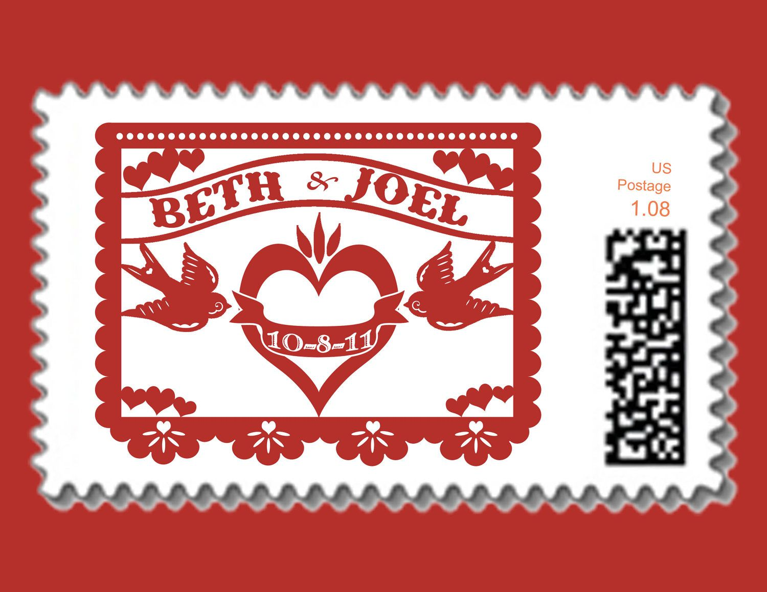 Papel Picado Love birds logo for postage stamp - Wedding, Engagement ...