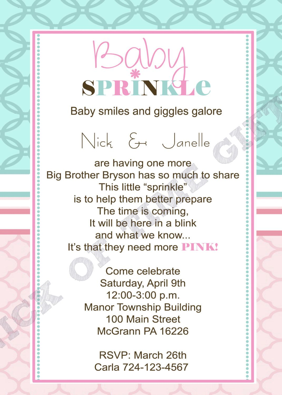 Baby Girl Sprinkle Shower Invitation, Sprinkle Invitation, Shower ...