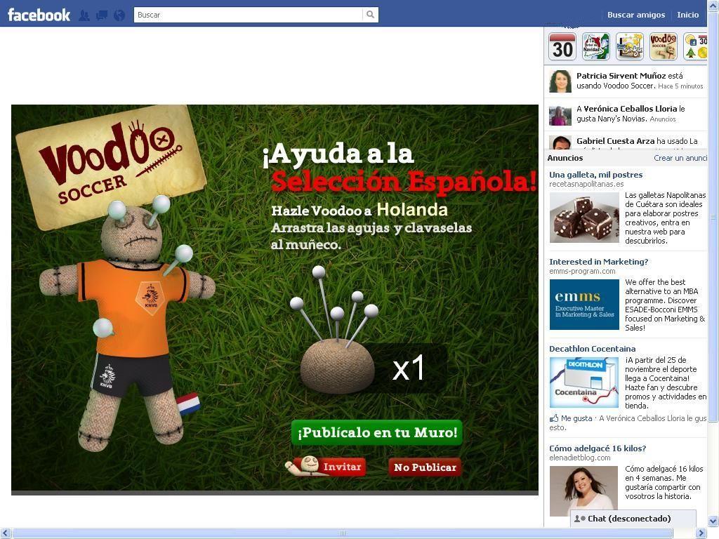 Voodoo Soccer dentro de Facebook