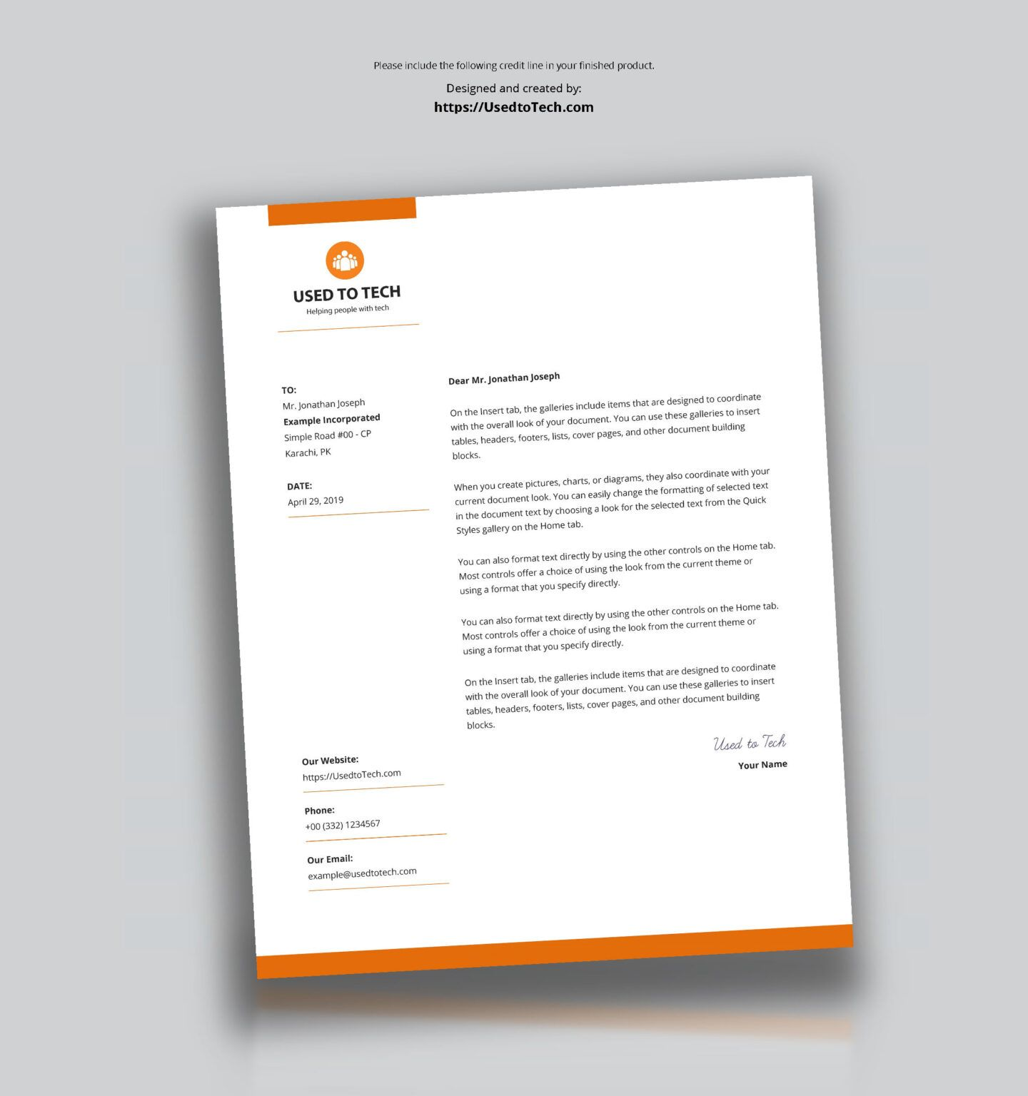 Modern Letterhead Template In Microsoft Word Free Used To Tech Throughout How To Cre Letterhead Template Word Letterhead Template Company Letterhead Template