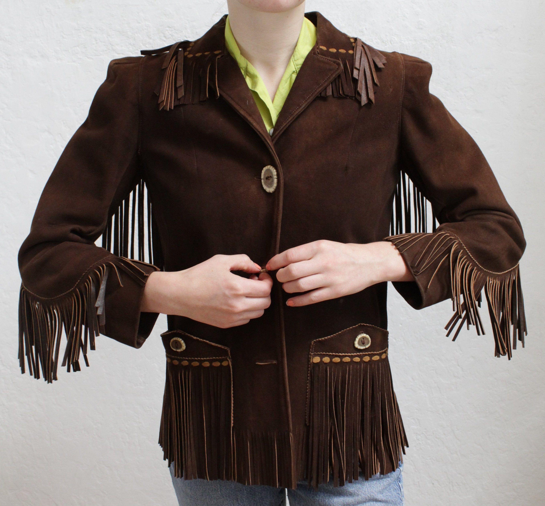 """1940's """"Edmucraft"""" Suede Leather Fringe Women's Jacket"""
