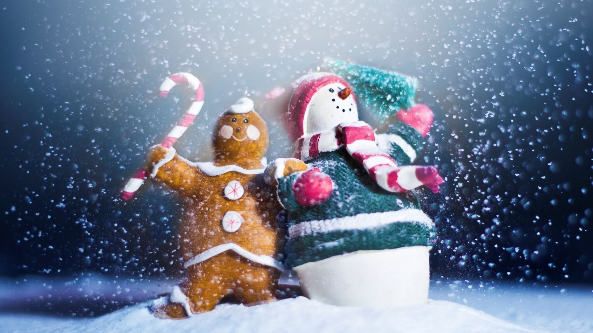 1920x1080 Wallpaper snowman, candy, cookies, holiday
