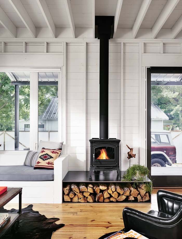 Corner Wood Stove Ideas | few elements (like wall color, clean line ...