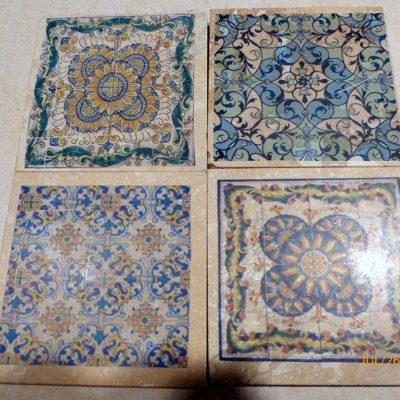 Moroccan Tile Coasters Travertine Stone Decorative Set Of 4 Marble