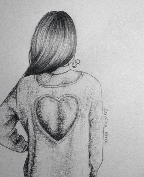 Прикольные и легкие рисунки для срисовки девочки со спины