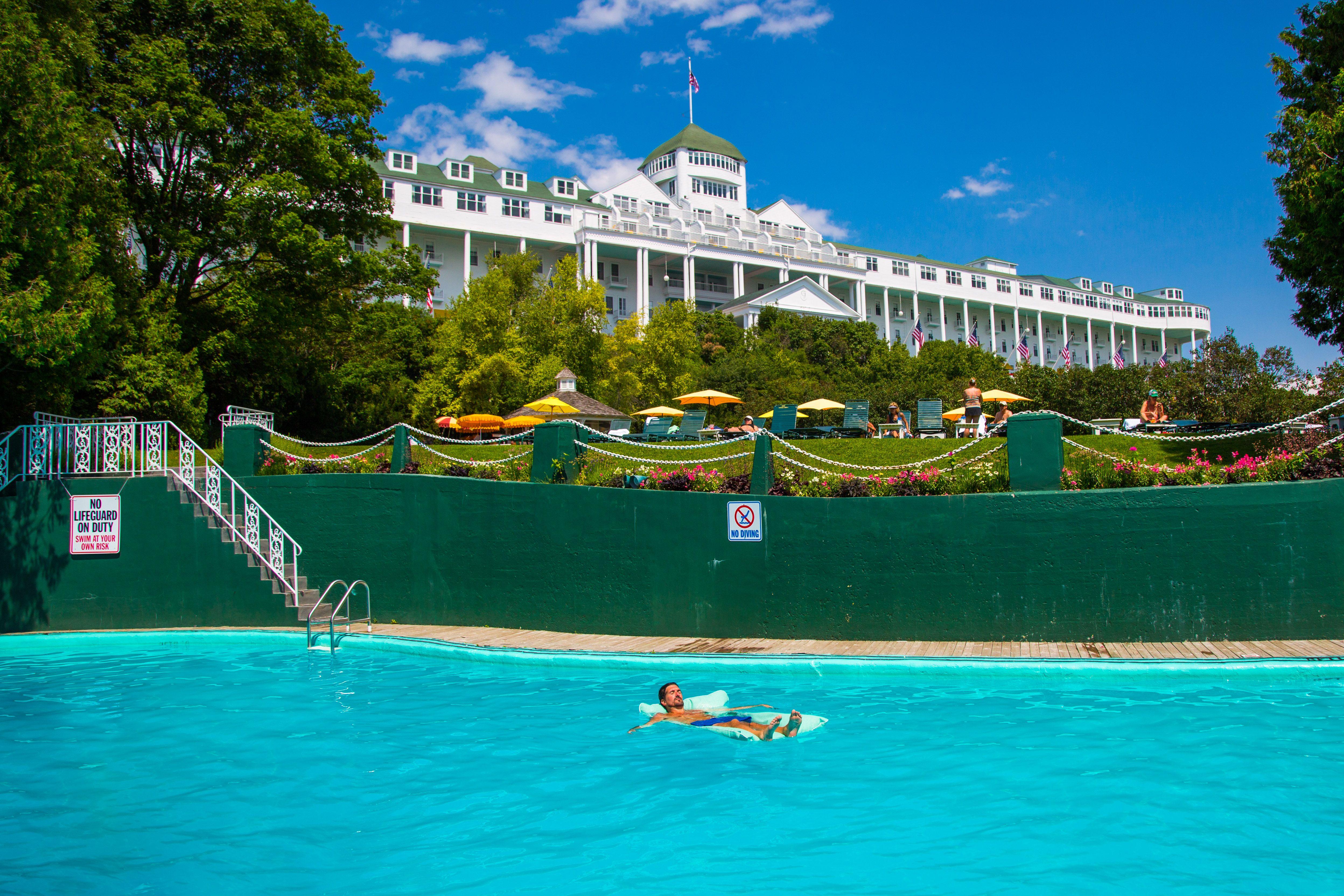 Relaxing In The Pool At Grand Hotel On Mackinac Island Grandhotelmichigan Mackinacisland Puremichigan Michigan Vacat Grand Hotel Mackinac Island Resort