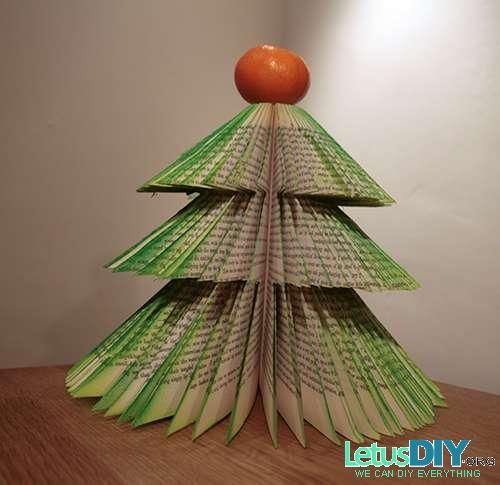 DIY Paper Christmas Tree With Old Book LetusDIYORG