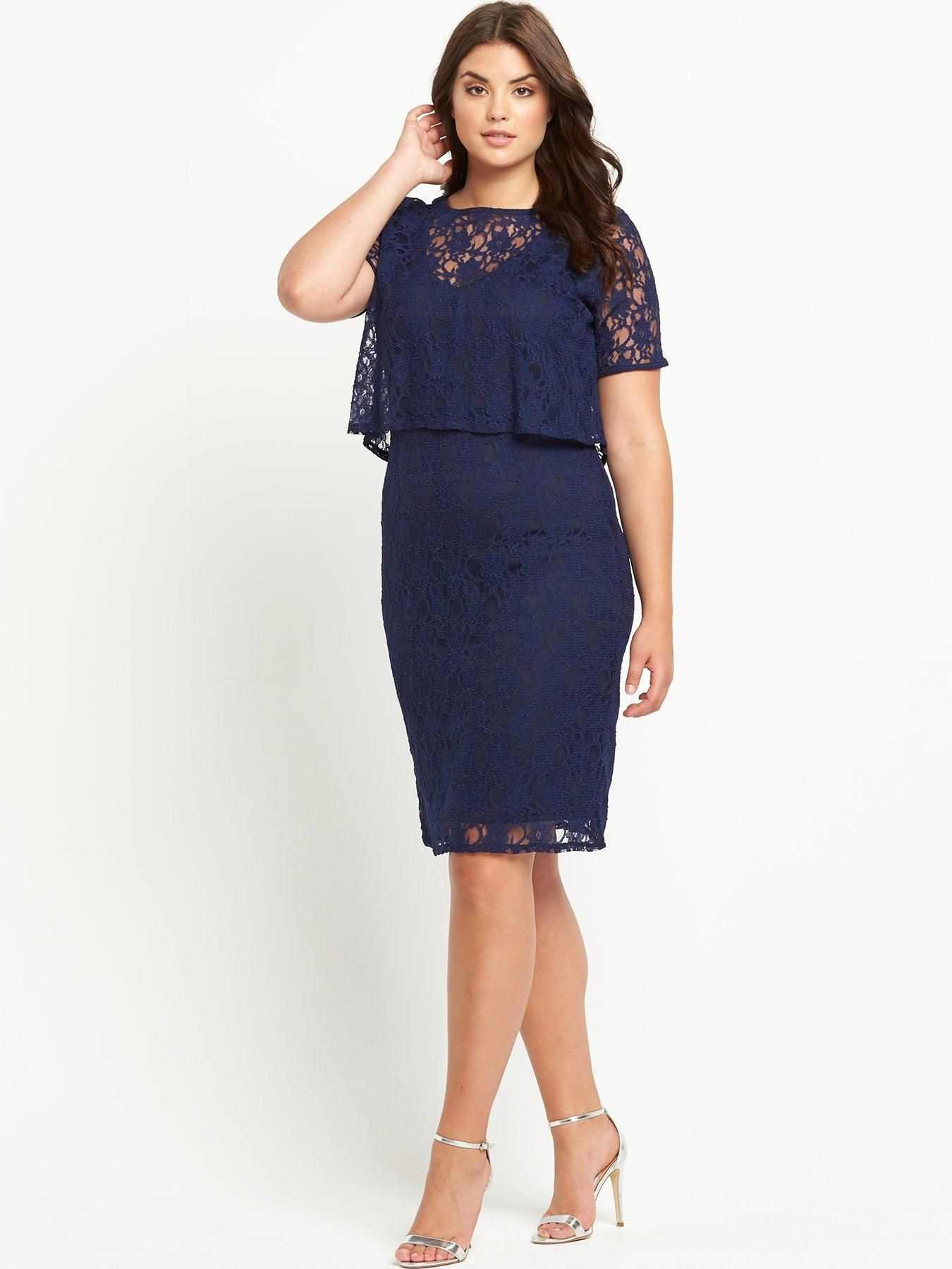V By Very Curve Double Layer Lace Midi Dress Navy In 2019