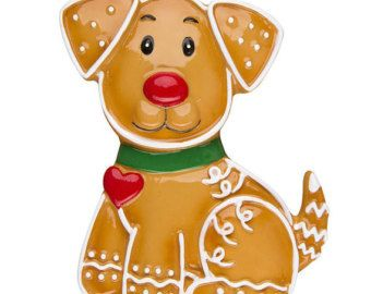 Dog Ornament  Personalized Christmas Ornament  Gingerbread Dog