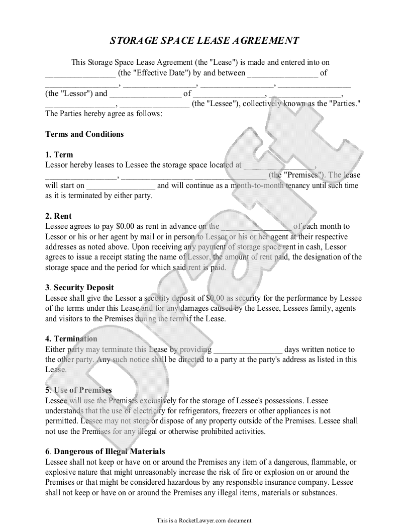 Storage Rental Agreement  Self Storage Unit Lease Agreement Form