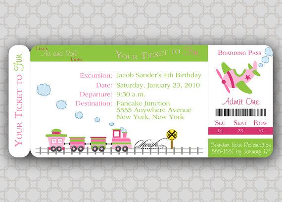 Girl Train Birthday Invitation Boarding Pass by SwishDesigns - plane ticket invitation template