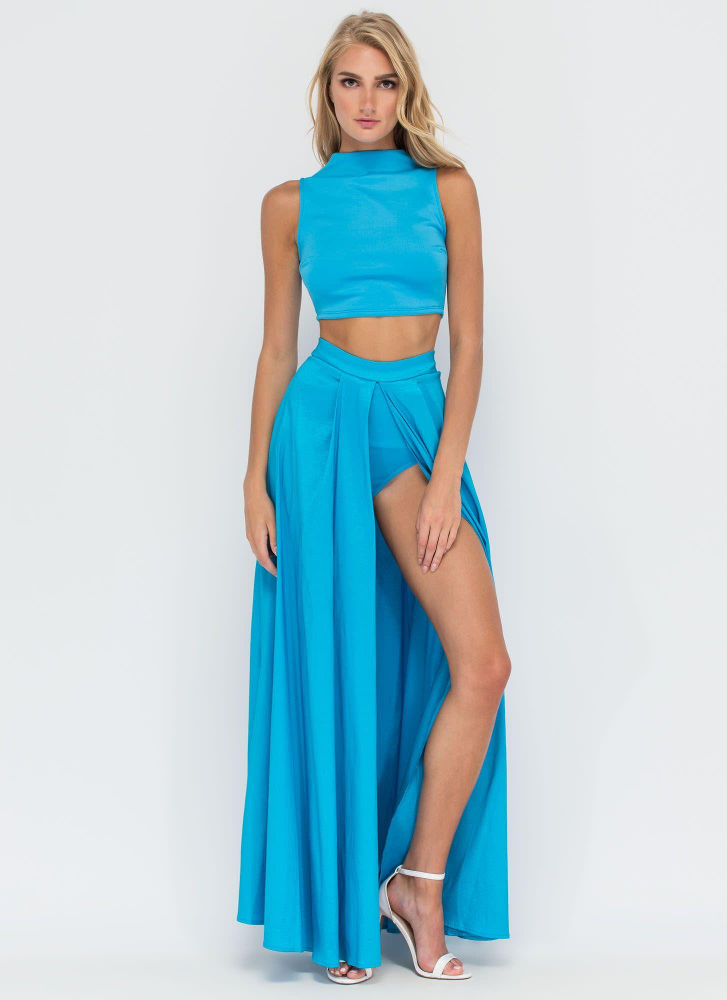 Glam Factor Two-Piece Maxi Dress AQUA - GoJane.com | clothing to buy ...