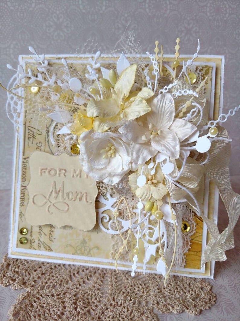 Beautiful handmade yellow shabby chic happy mothers day