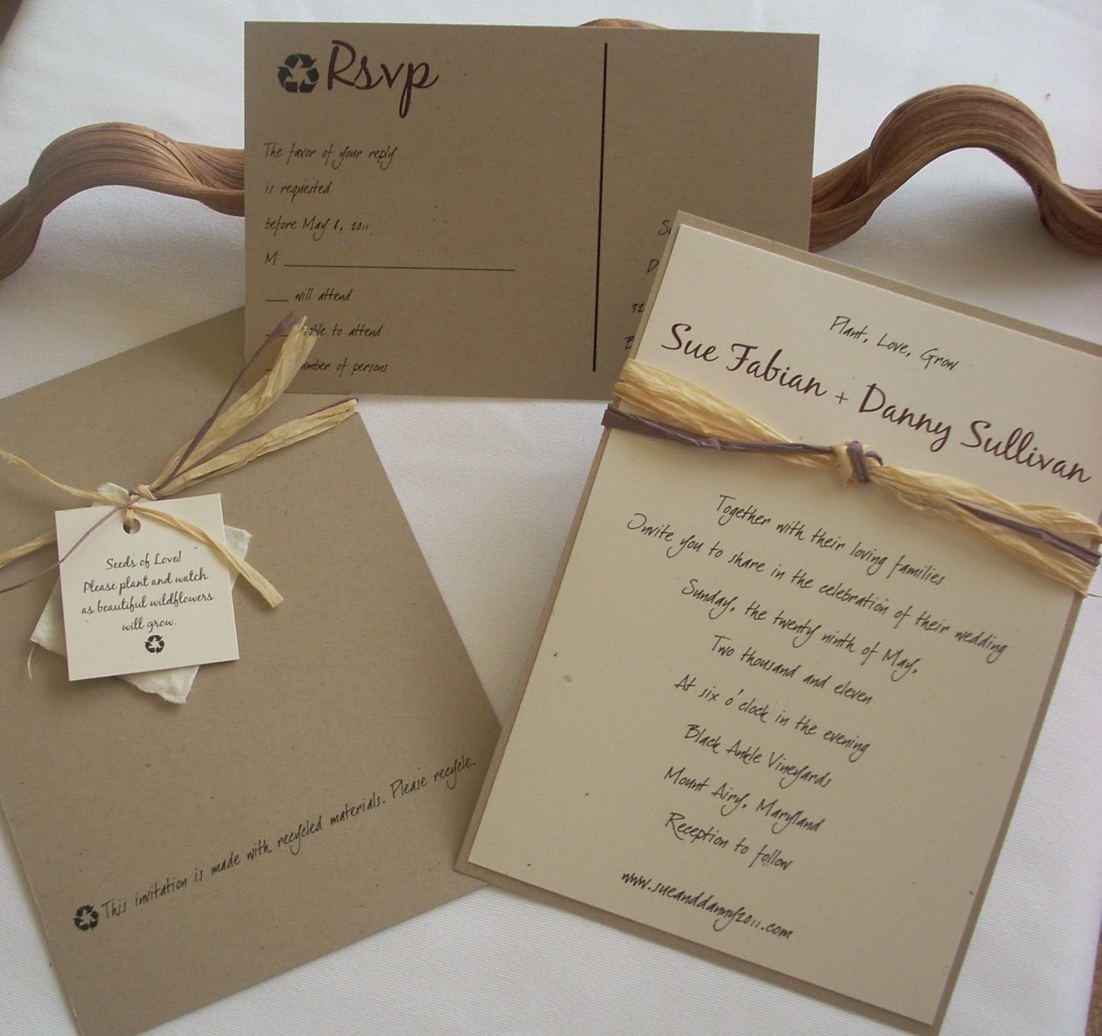 Recycled Paper Wedding Invitations: Please Recycle Wedding Invitation By This & That Creations