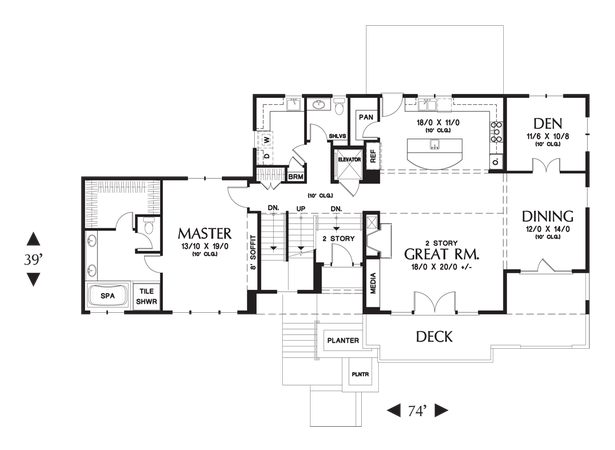 Main Floor Plan of Mascord Plan 22197A - The Burbank - Gorgeous Prairie Style Contemporary Home for Sloping Lots