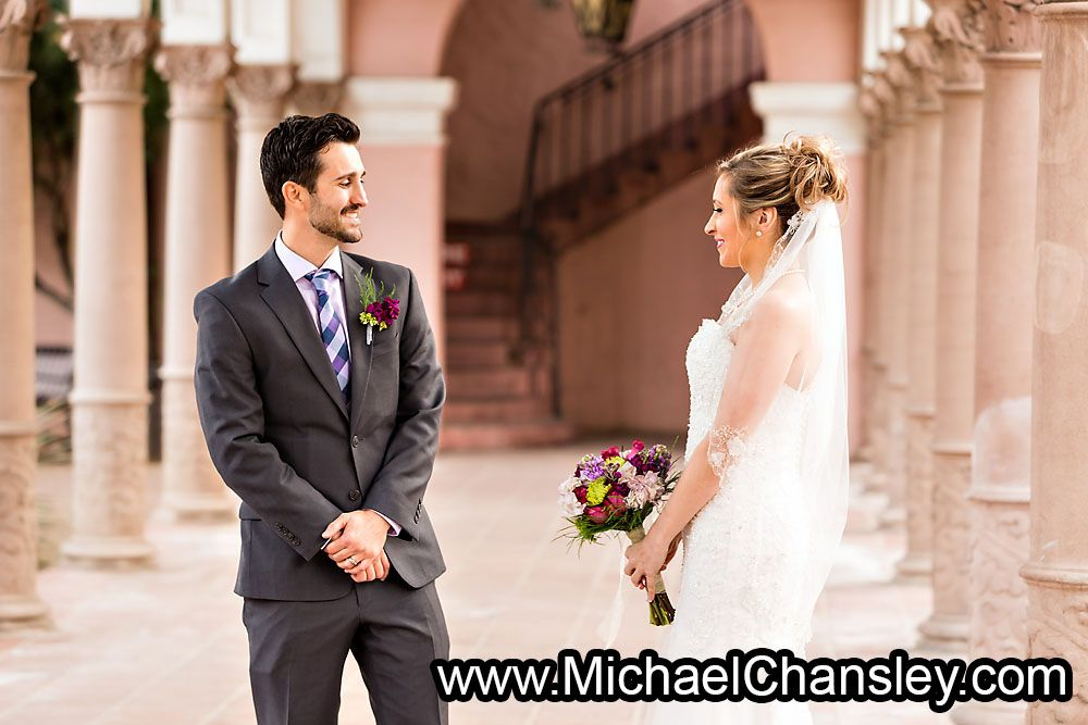 Bride And Groom First Look Meeting Photo At The Tucson Courthouse Near Museum Of Art Wedding Venue In Downtown AZ Arizona By Michael