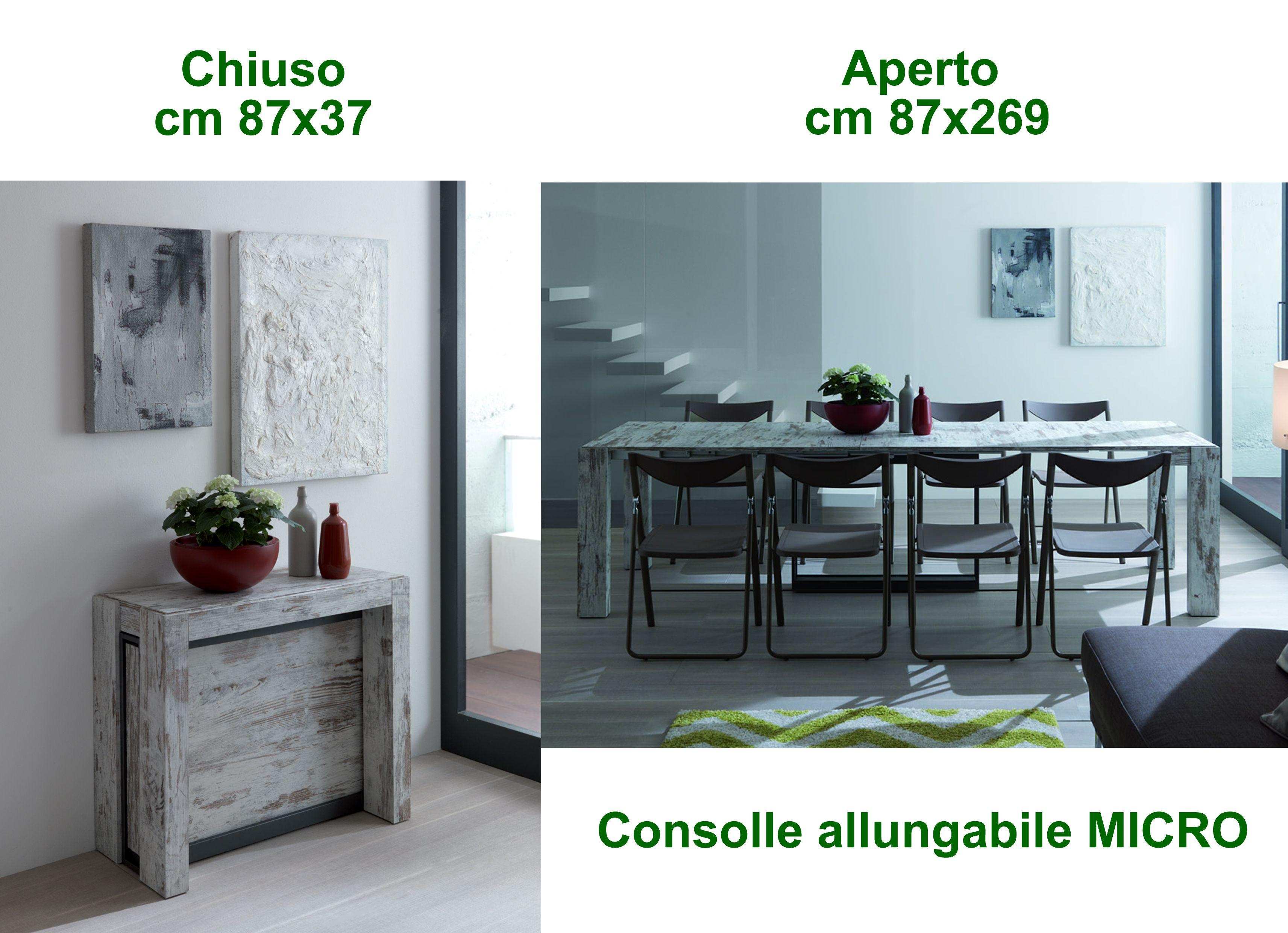 Tavolo Consolle Allungabile Con Prolunghe Interne.Tavolo Consolle Micro Cm 87 37 Chiuso Fino A 87 269 Aperto