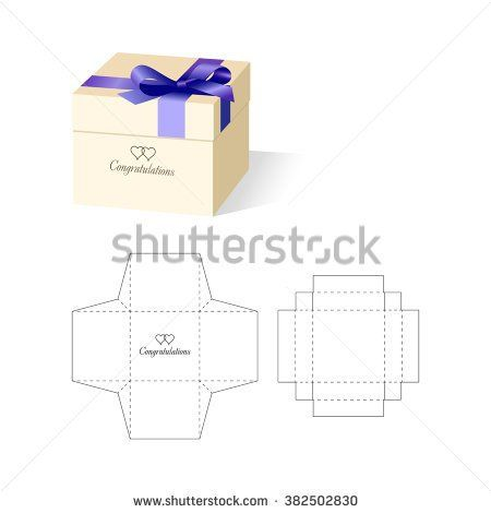 cube box with die cut layout cajas cumples pinterest cube