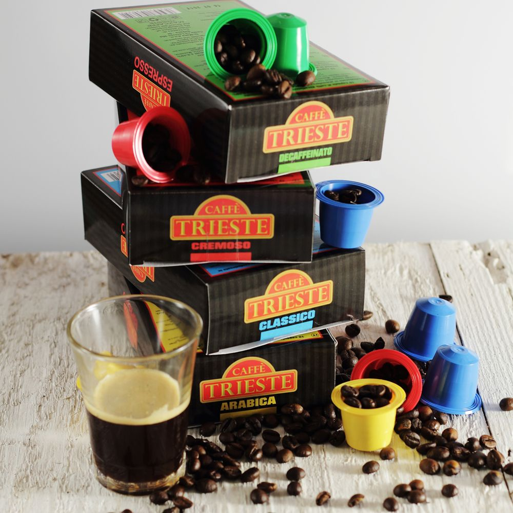 Caffé Trieste Caffé Trieste már Nespresso kompatibilis kávékapszula formájában is elérhető. Négyféle eszpresszó változatban. Arabica.: 100% Arabica: Intenzív aroma, magas koffeintartalom, ezek a jellemzői a lassan pörkölt Arabica keveréknek mely mámorító ízével elvarázsolja Önt. A mi kávénk kiváló Közép- és Dél-Amerikai, ill. Közép-Afrikai ültetvényekről származik. Olaszországban pörkölik olyan módszerrel, ami az erős, de nem intenzív ízét biztosítja, amely a szájbanContinue Reading