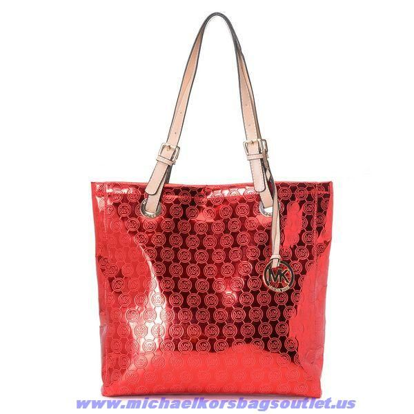 Michael Kors Grayson Japanned Leather Shopping Bag Red Fast Shipping
