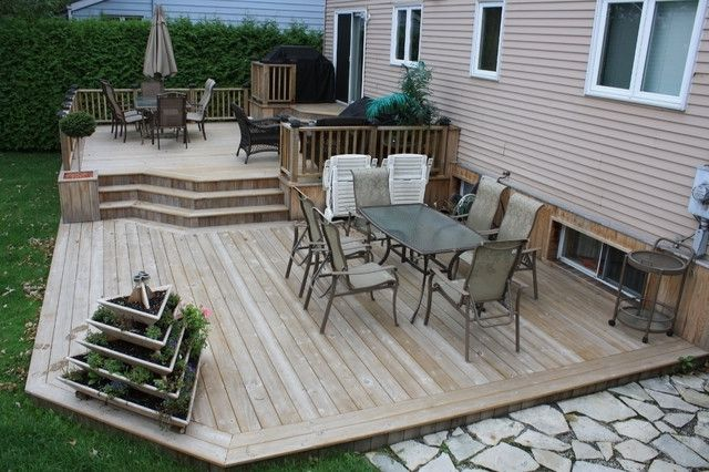 Patio Deck Art Design Contemporary Montreal 2 Tier Designs