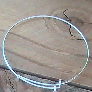 Sterling Silver Plated Adjustable Bangle Charm Bracelet, Handmade