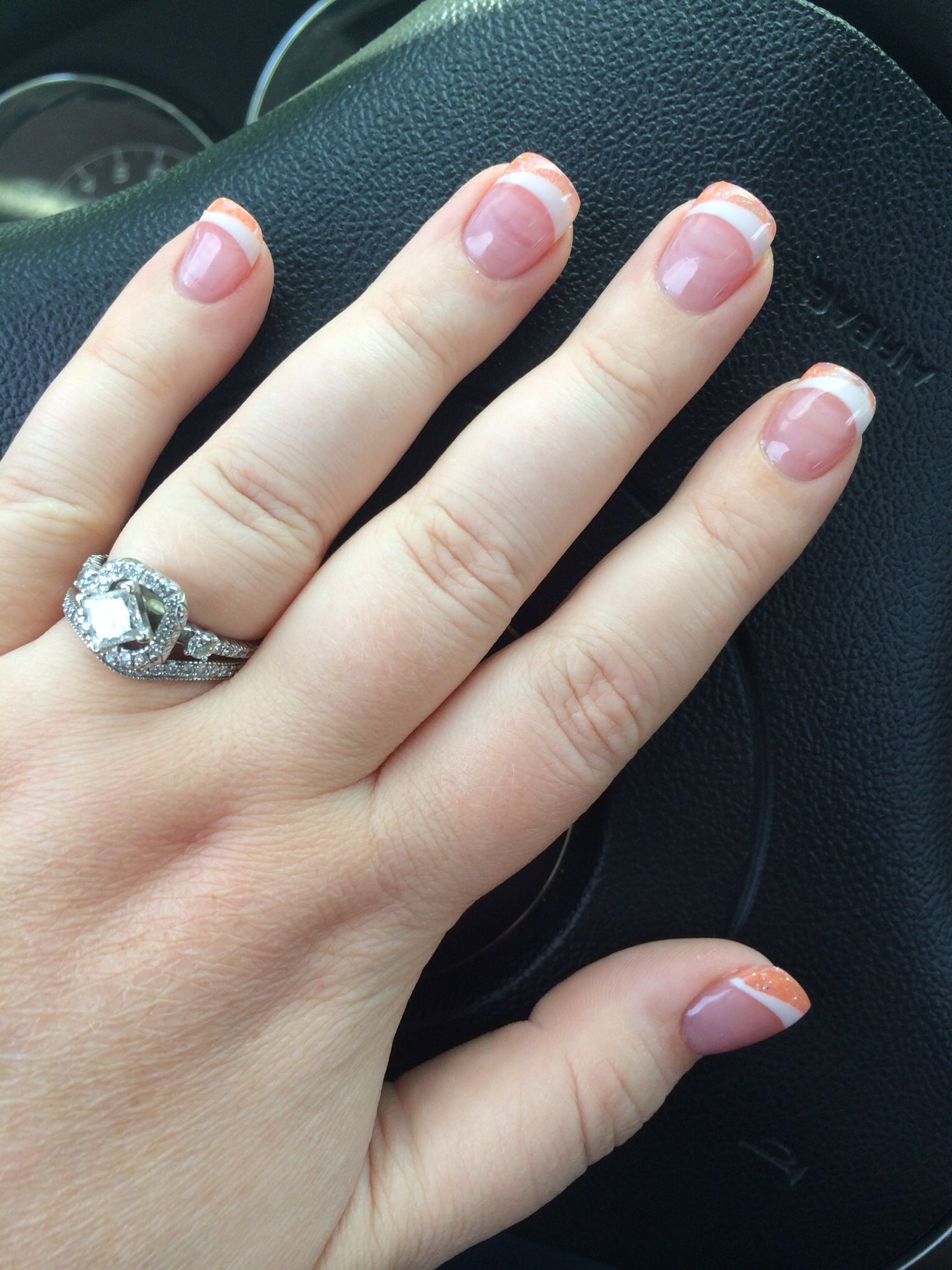 Pink and white solar nails with some sparkly orange :) | Nails ...