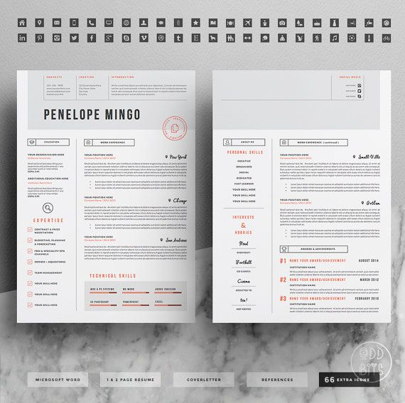 Creative Resume Template For Word    Page Cv By Oddbitsstudio