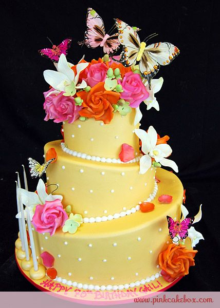 Yellow Spring Garden Birthday Cake By Pink Box