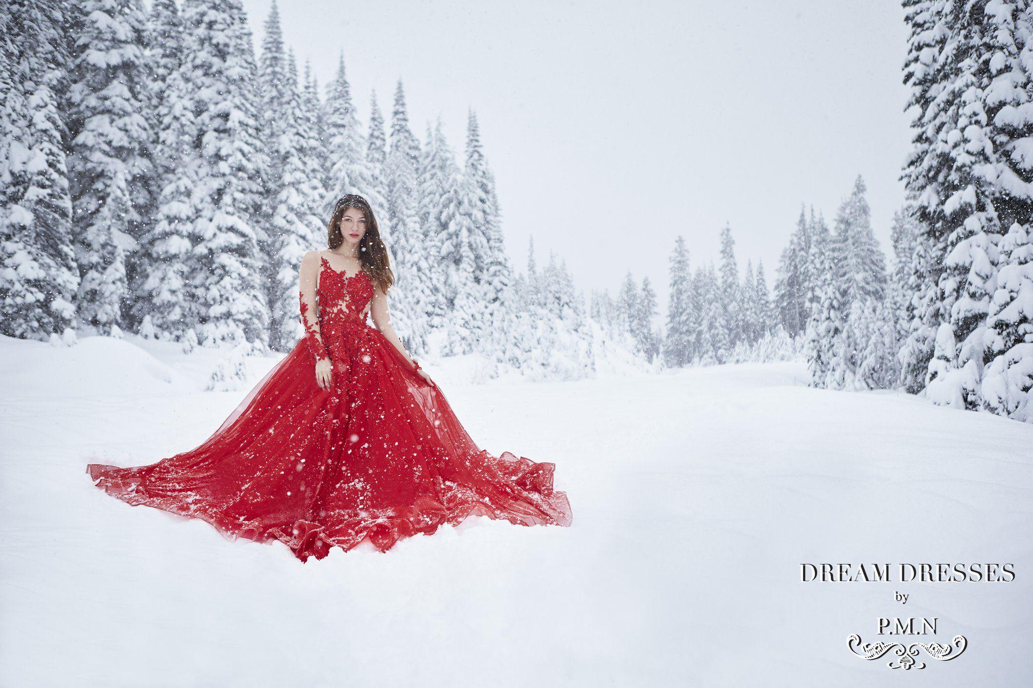 Winter wonderland styled shoot dream dress red wedding dresses