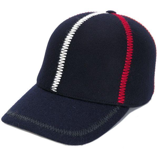 cdec1068cabc7 Comme Des Garçons Shirt stripe embroidered cap ( 245) ❤ liked on Polyvore  featuring men s fashion