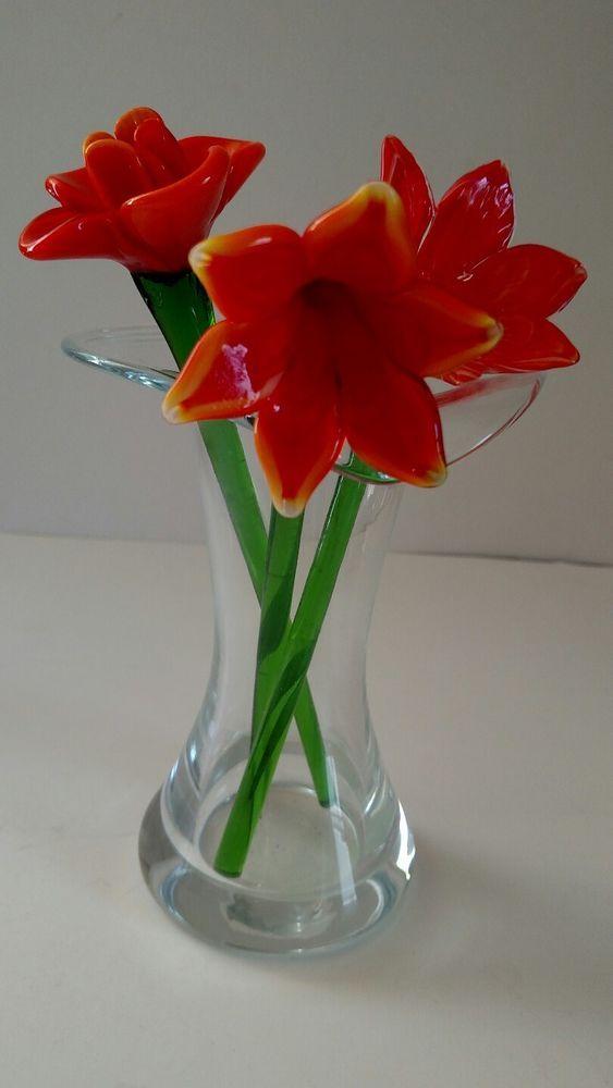 3 Murano Style Glass Flowers 8 Hand Blown Orangepink In 6 Wanda