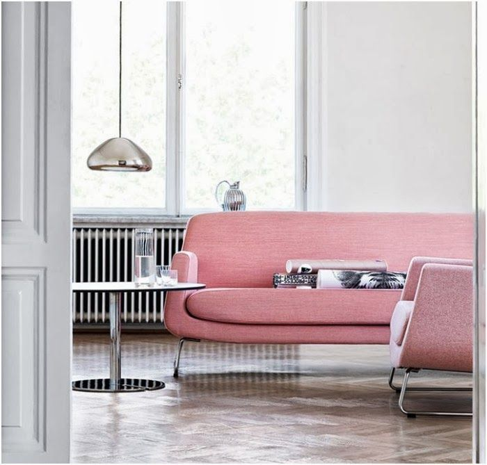 Baby Pink Sofa With Void Light From #TomDixon