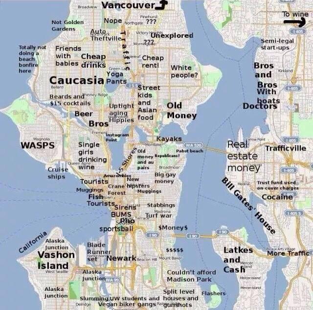 Seattle Map Reimagined Seattle coffee shops, Seattle