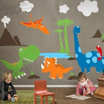 Dinosaur Wall Decal ,wall Decal, Wall Sticker, Tree Wall Decal, Tree Wall  Sticker, Nursery Wall Decal, Nursery Wall Sticker, Kids Wall Decal,  Children Wall ...