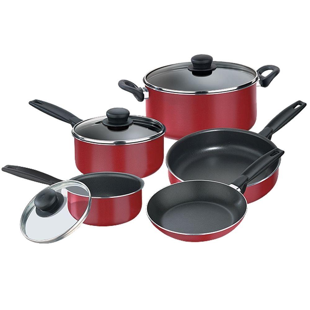 Batería de Cocina Tramontina Tusa 8 Piezas Rojo Mod. 80112