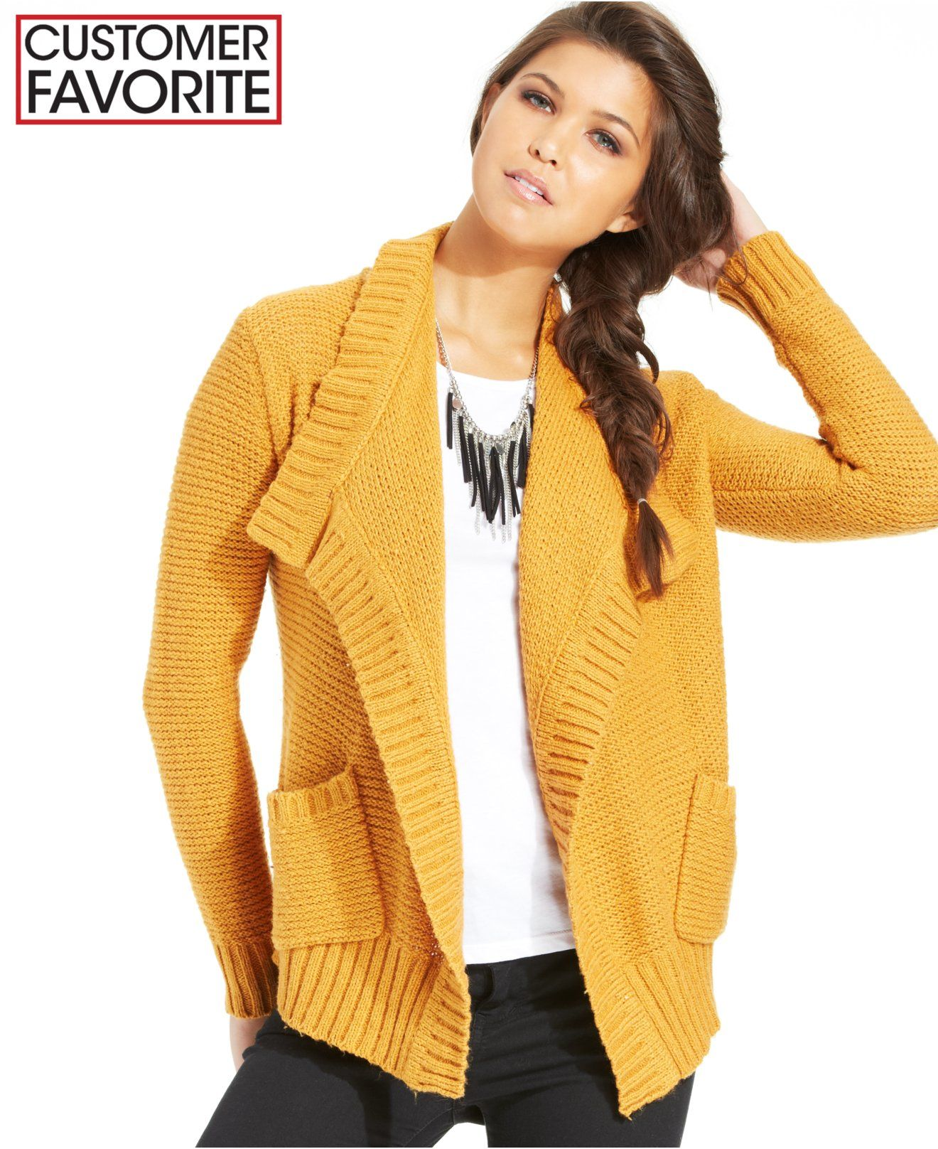 american rag, macy's, sweater, open, cardigan, mustard, yellow ...