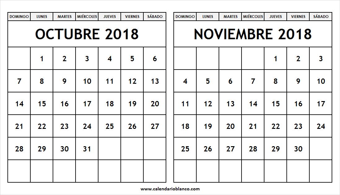 Calendario Mes De Octubre 2020 Para Imprimir.Descargar Calendario Octubre Noviembre 2018 Para Imprimir En