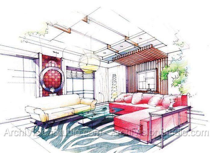 Interior rendering illustrations pinterest skizzen for Einrichtung interior