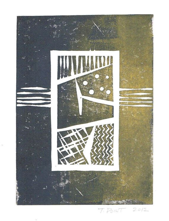 SALE - Print - Modern Abstract Patterns Linocut / 5 x 7 Wall Art / Dark Lavender Grey, Gold, Subtle Black Accents / Clearance