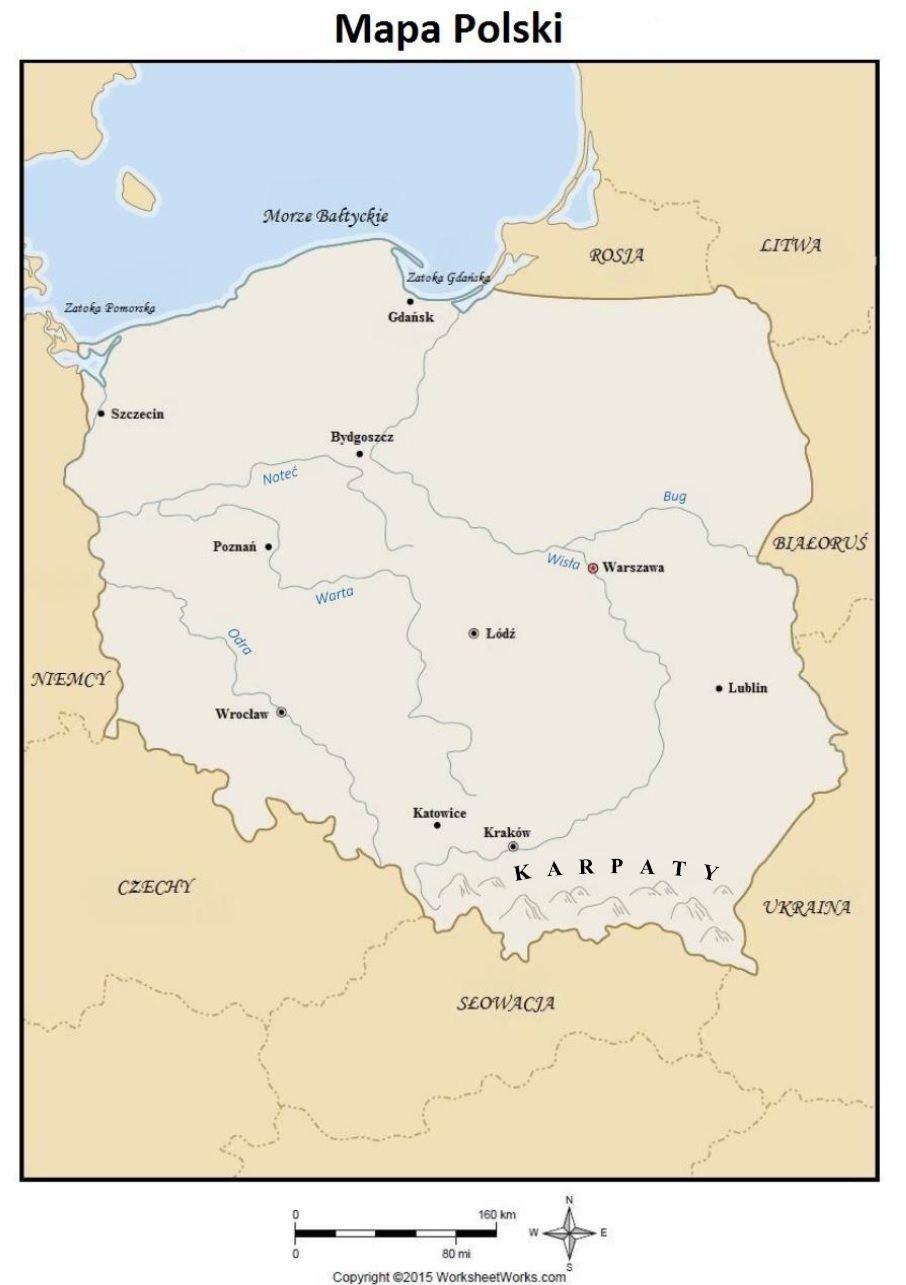 Blog Edukacyjny Dla Dzieci Mapa Polski Karty Pracy Education Nature Labels