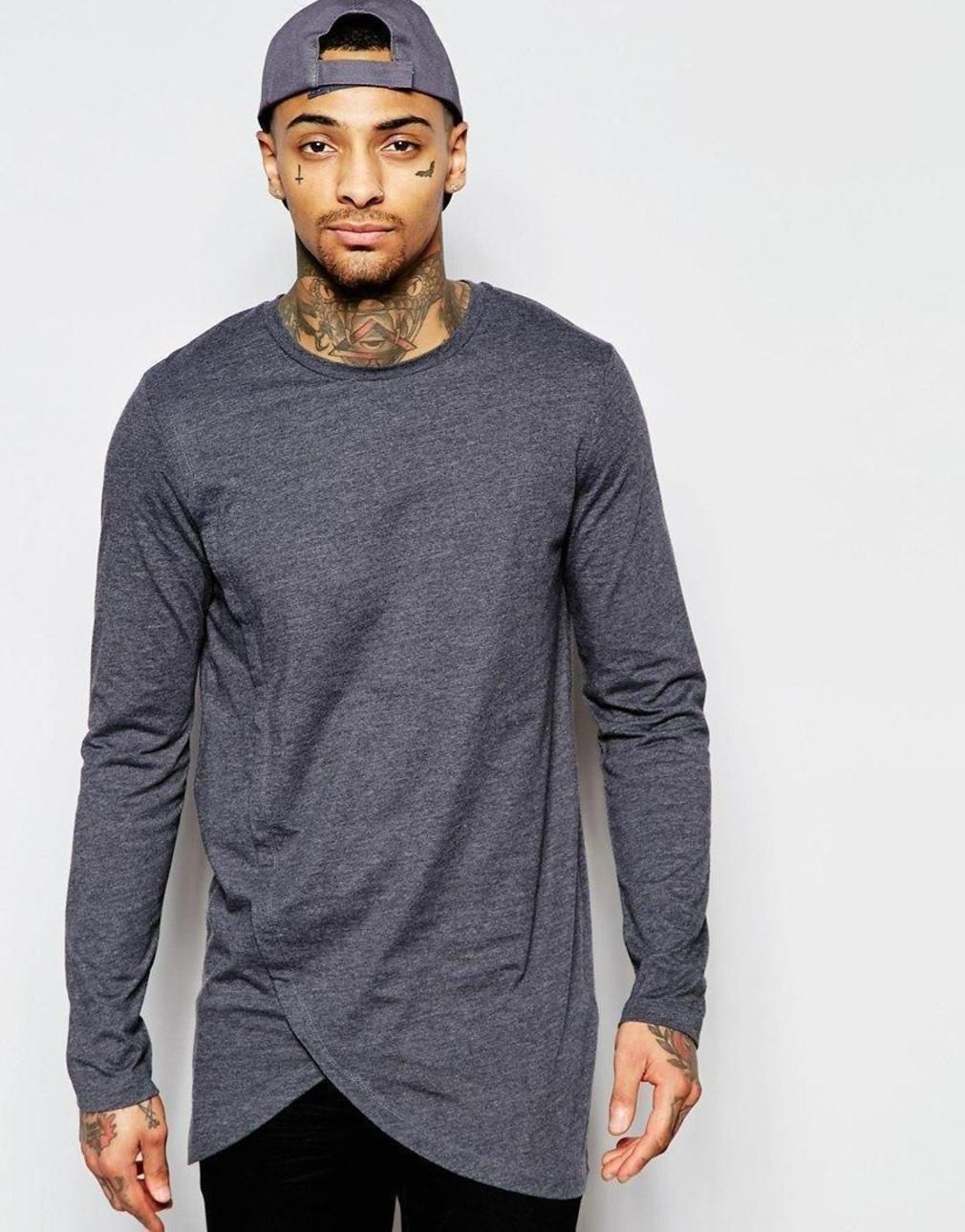 0e24a7b88 Longline Long Sleeve T-Shirt With Asymmetric Curve Hem…   Men's ...