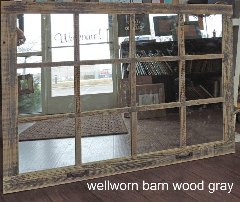 163 00 Barn Wood 12 Pane Window Mirror Rustic Mantel Or Wall