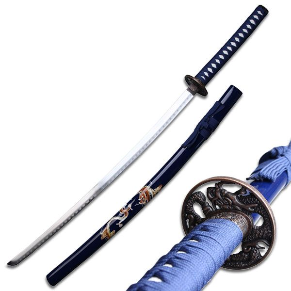 Carved Dragon Blue Samurai Sword Set Dragon Carved