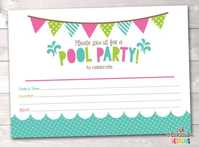 Girls Pool Party Printable Birthday Party Invitation Instant Download Printable Pdf Priglashenie Na Den Rozhdeniya Den Rozhdeniya Shablony