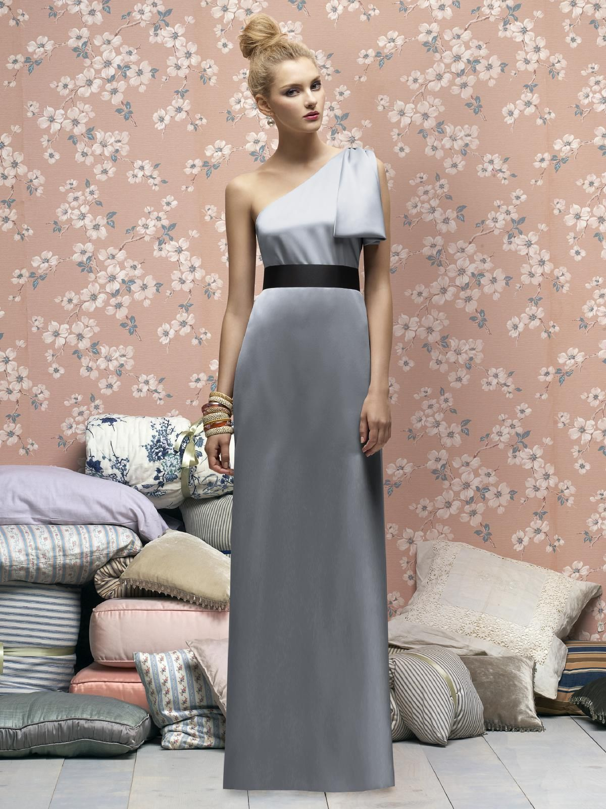 Charming floor length one shoulder silver taffeta bridesmaid dress charming floor length one shoulder silver taffeta bridesmaid dress with black belt ombrellifo Gallery