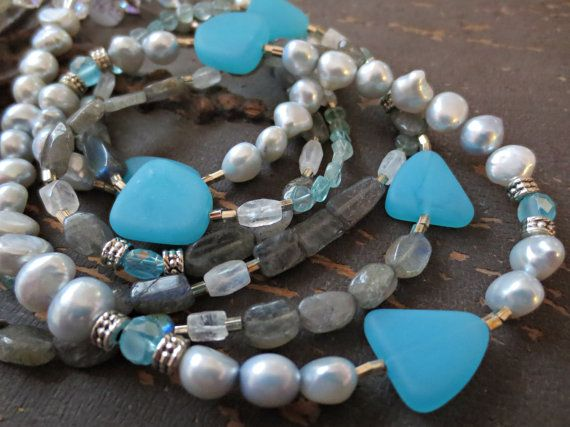 La Mer Mixed Gemstone Multi Strand Necklace  by MakingWavesCapeCod - would go GREAT with jeans!